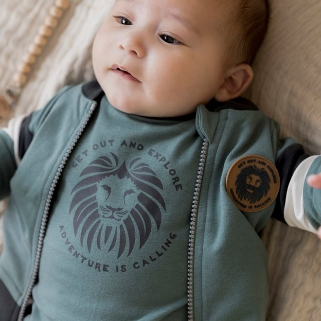 Dirkje jongens baby set vest shirt broek sage grijs groen