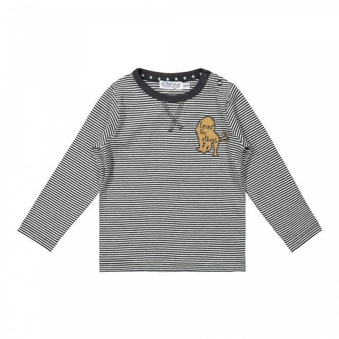 Dirkje boys shirt dark grey stripes