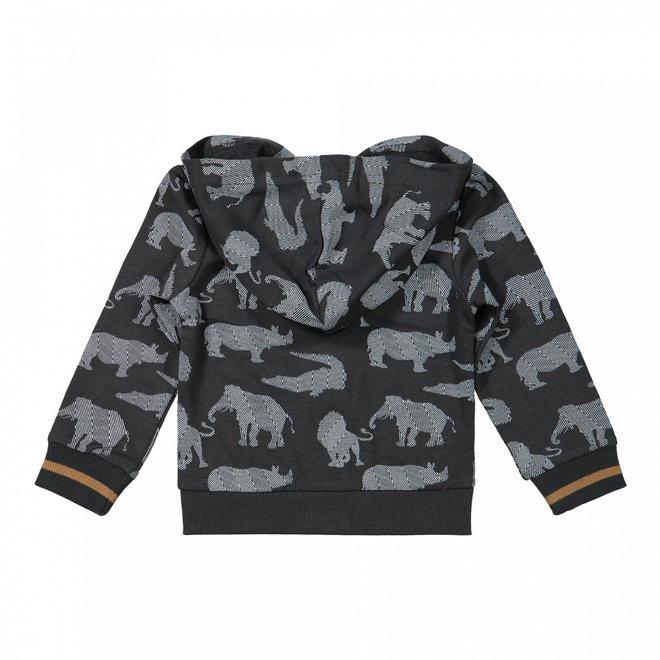 Dirkje jongens vest met capuchon donkergrijs off-white