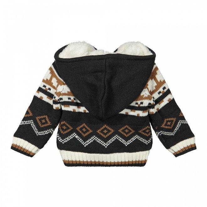 Dirkje boys knitted cardigan dark grey camel fake fur