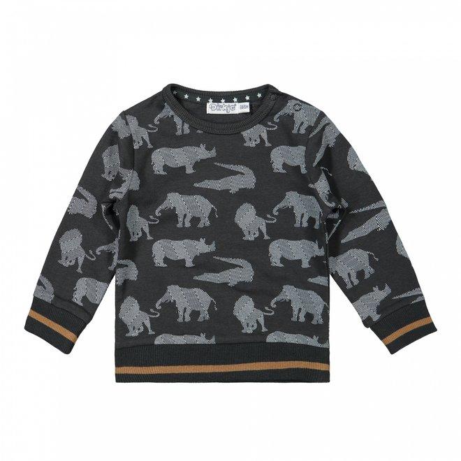 Dirkje jongens trui wilde dieren donkergrijs off-white