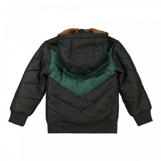 Dirkje jongens winterjas met capuchon donkergrijs groen