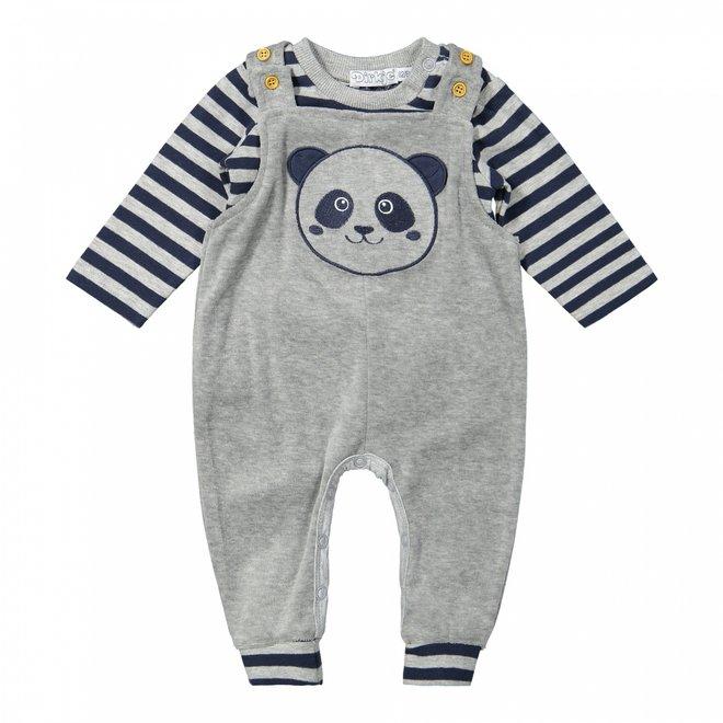 Dirkje jongens baby set shirt en panda boxpakje lichtgrijs