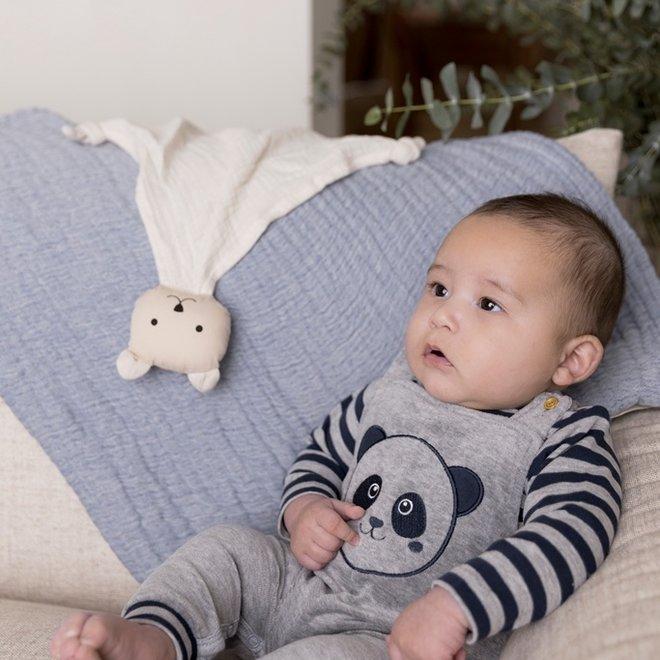 Dirkje boys baby set shirt and panda playsuit light grey