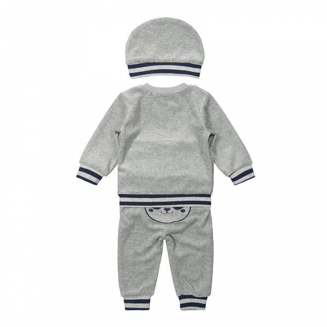 Dirkje boys baby set jumper and trousers with hat light grey