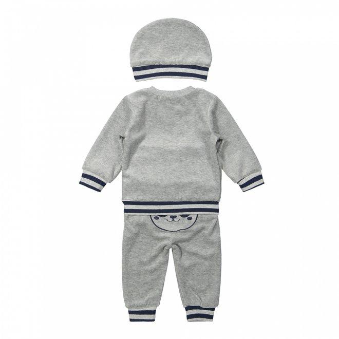 Dirkje Jungen Baby Set Pullover und Hose mit Hut hellgrau