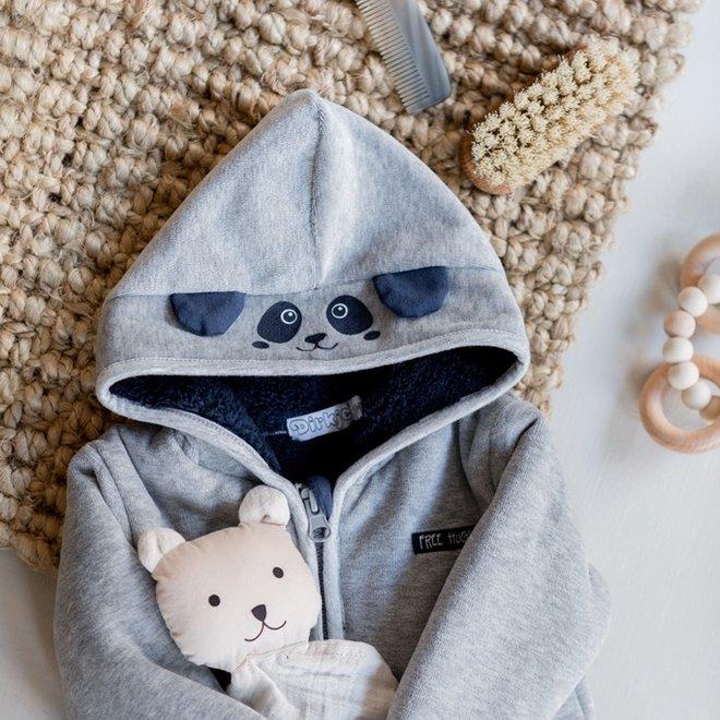 Dirkje boys baby outdoor suit with hood light grey