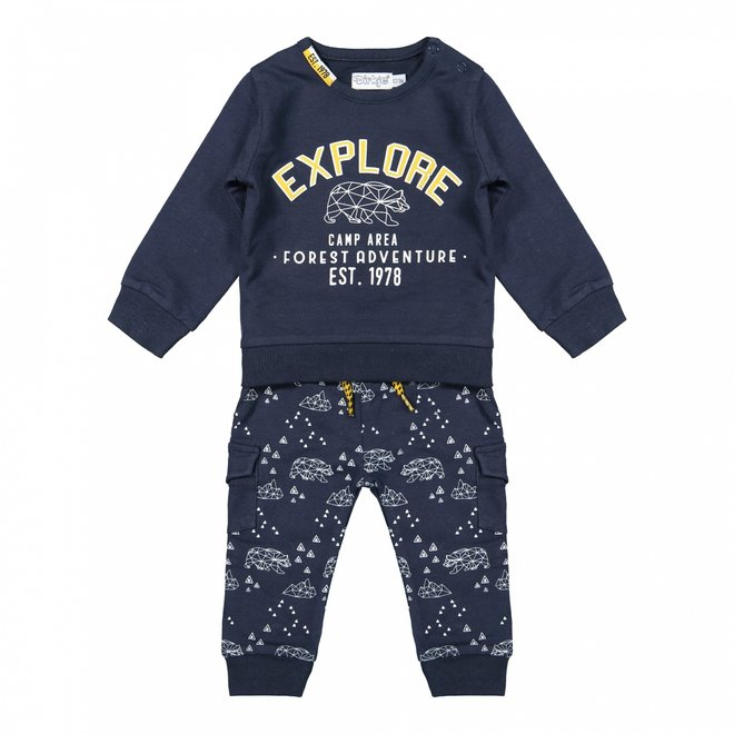 Dirkje Jungen Baby Set Pullover und Hose dunkelblau Bären