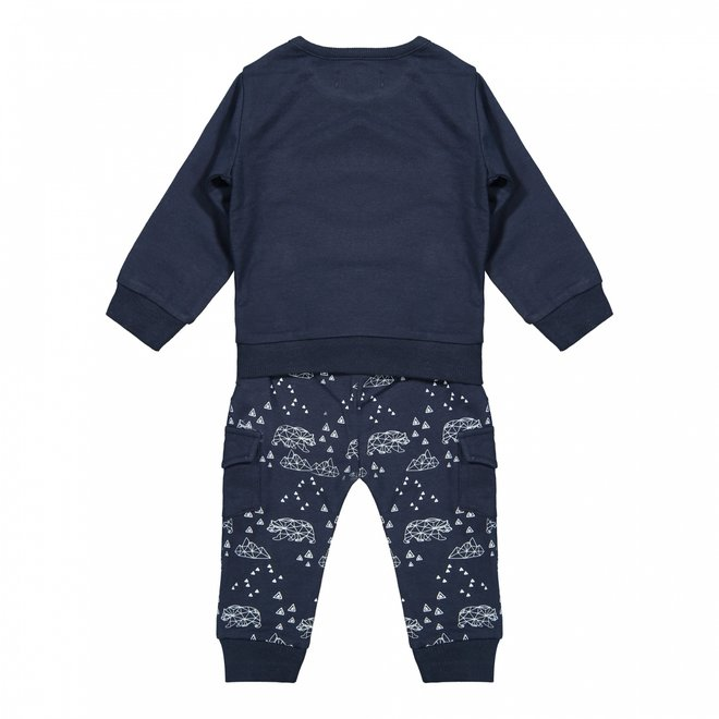 Dirkje boys baby set jumper and trousers dark blue bears