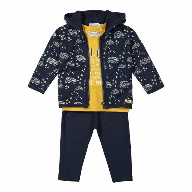 Dirkje jongens baby set vest shirt broek donkerblauw okergeel
