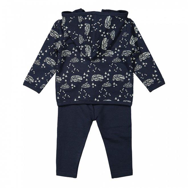Dirkje Jungen Baby Set Strickjacke Shirt Hose dunkelblau ockergelb