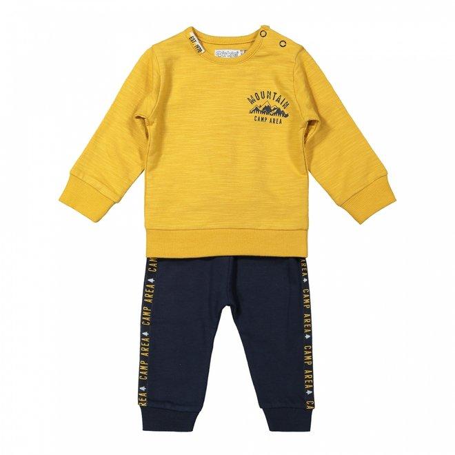 Dirkje jongens baby setje trui en broek donkerblauw okergeel
