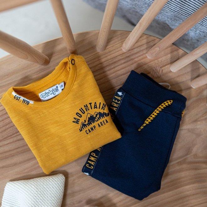 Dirkje boys baby set jumper and trousers dark blue ochre yellow