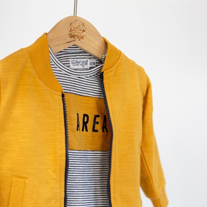 Dirkje boys baby set cardigan shirt trousers dark blue ochre yellow