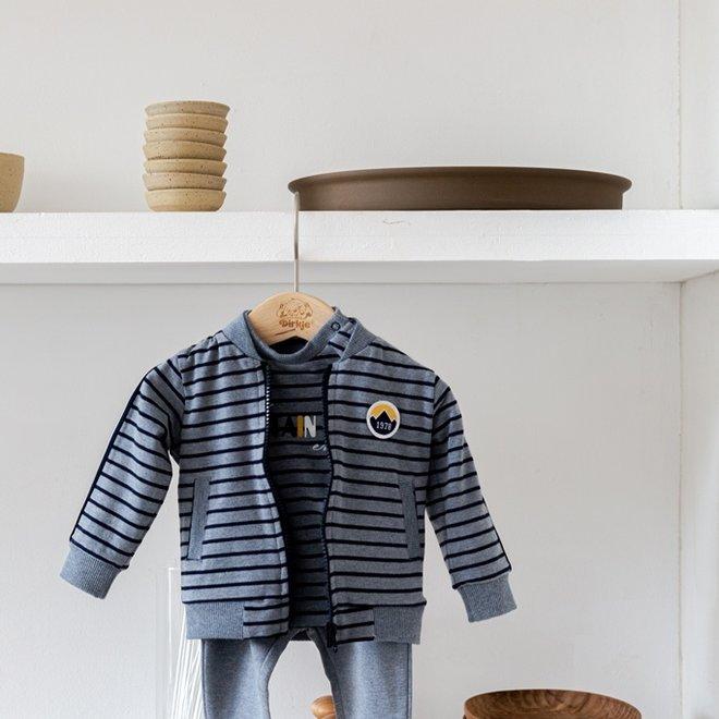 Dirkje boys baby set cardigan shirt trousers jeans blue