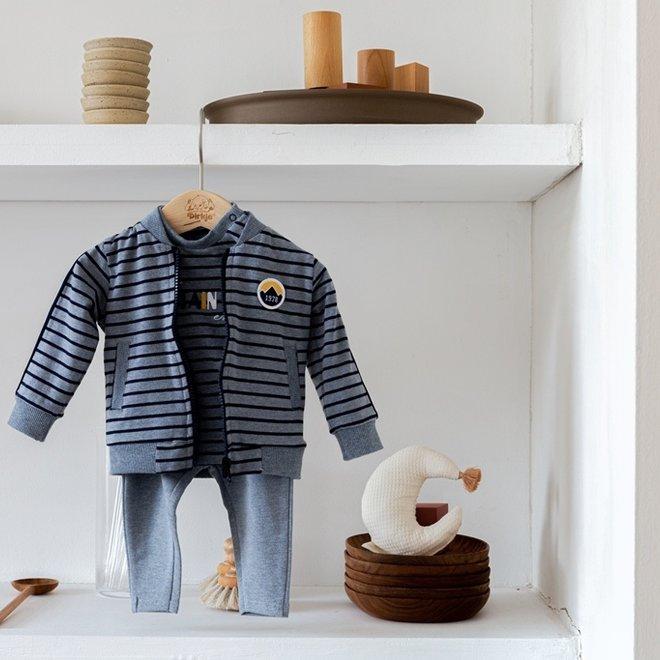 Dirkje jongens baby set vest shirt broek jeansblauw