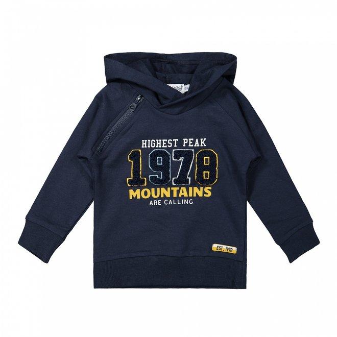 Dirkje boys hooded sweatshirt with zip dark blue
