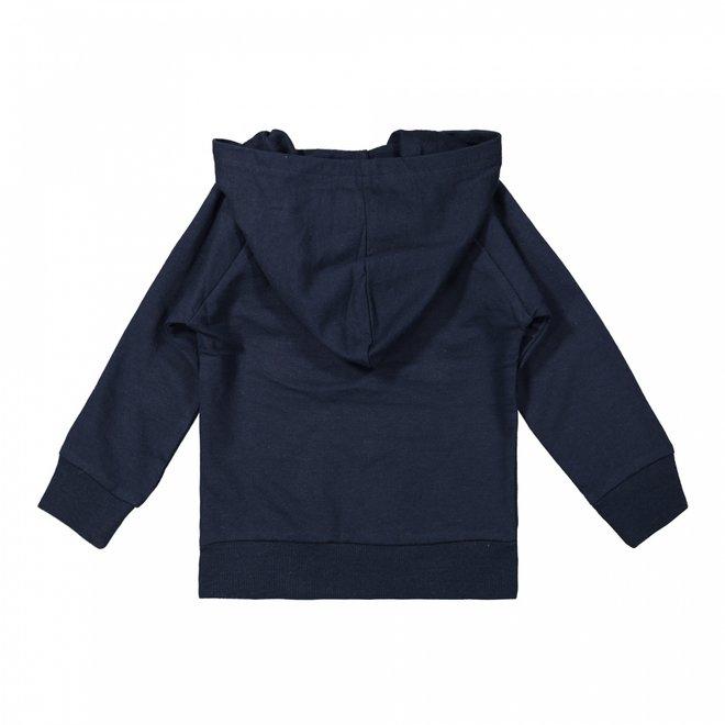 Dirkje Jungen Pullover mit Kapuze und Reißverschluss dunkelblau