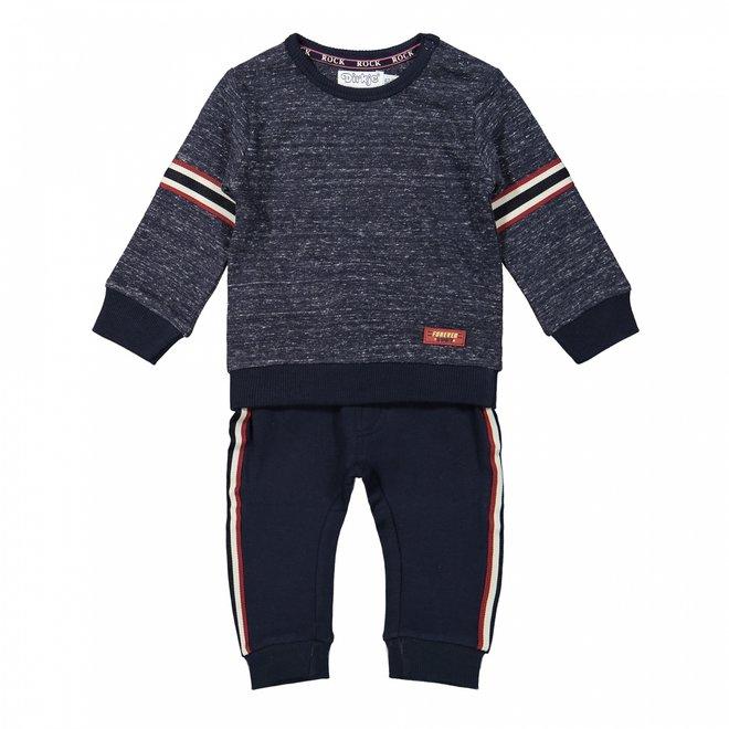 Dirkje jongens baby set trui en broek donkerblauw gemêleerd
