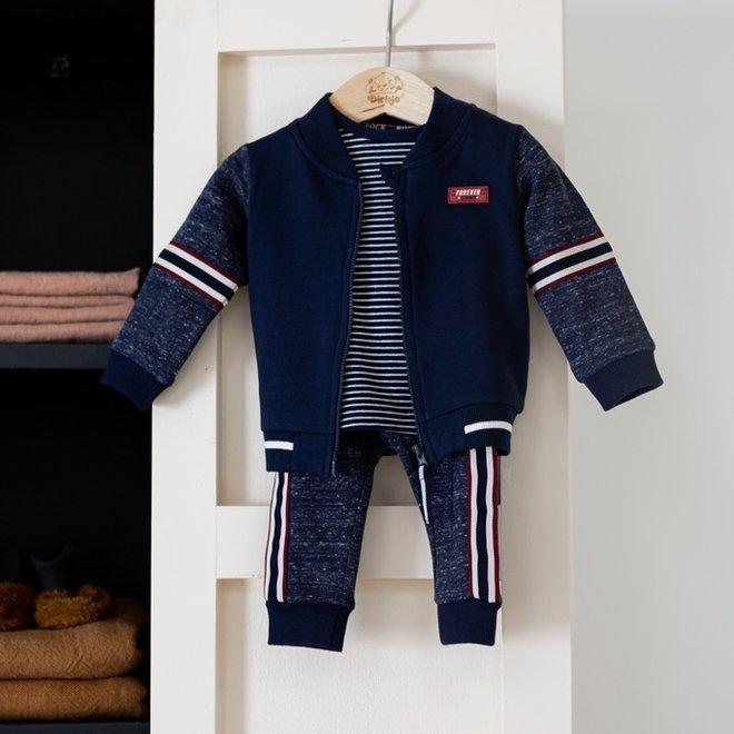 Dirkje jongens baby set vest shirt broek blauw gemêleerd