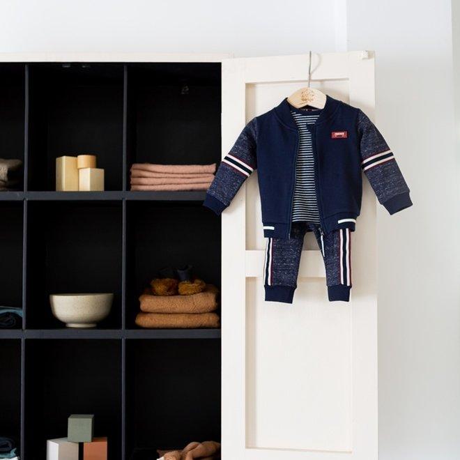 Dirkje Jungen Baby Set Strickjacke Shirt Hose blau melange