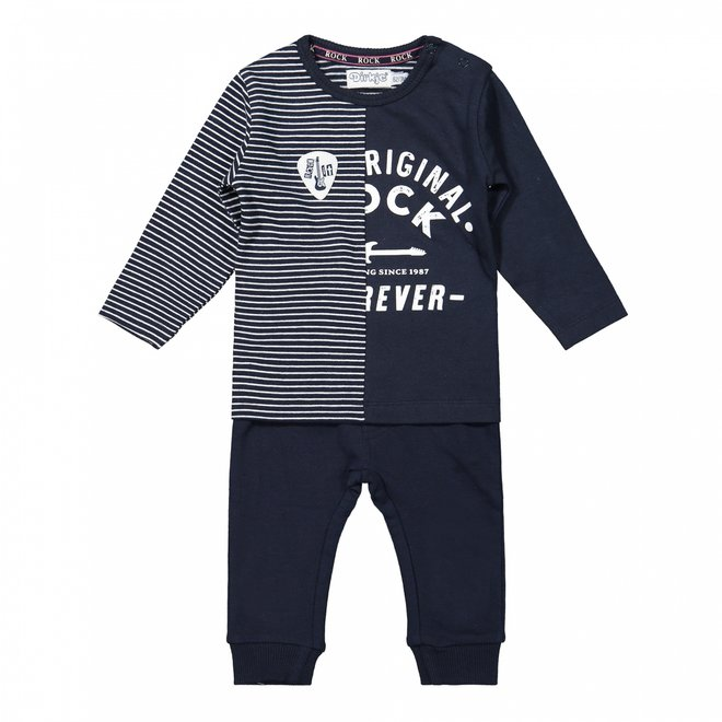 Dirkje jongens baby set shirt en broekje donkerblauw