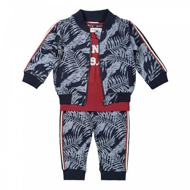 Dirkje jongens baby set vest shirt en broek blauw hawaii