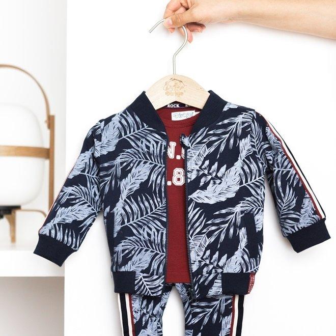 Dirkje Jungen Baby Set Jacke Hemd und Hose blau Hawaii