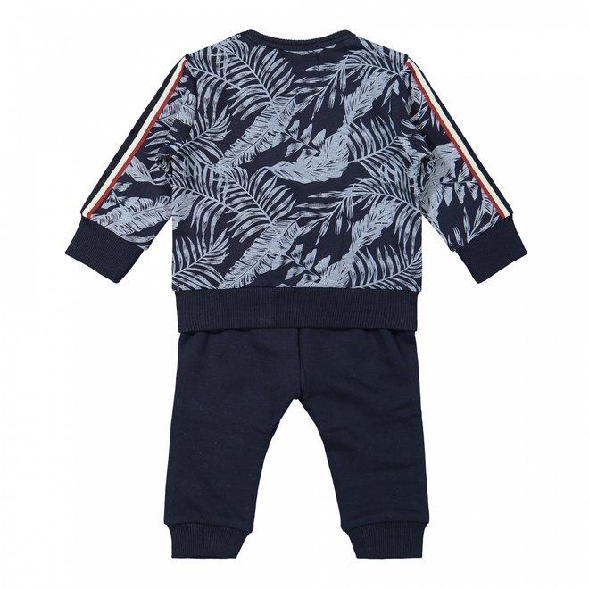 Dirkje boys baby set jumper and trousers dark blue hawaii