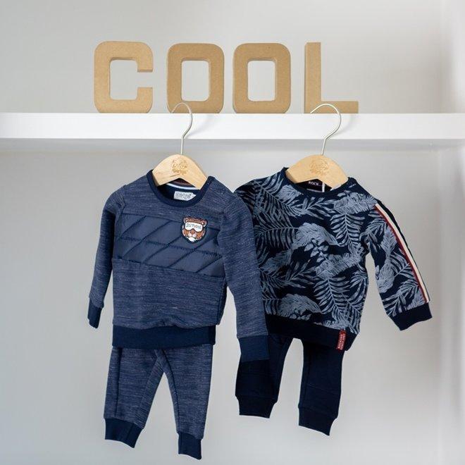 Dirkje jongens baby set trui en broek donkerblauw hawaii