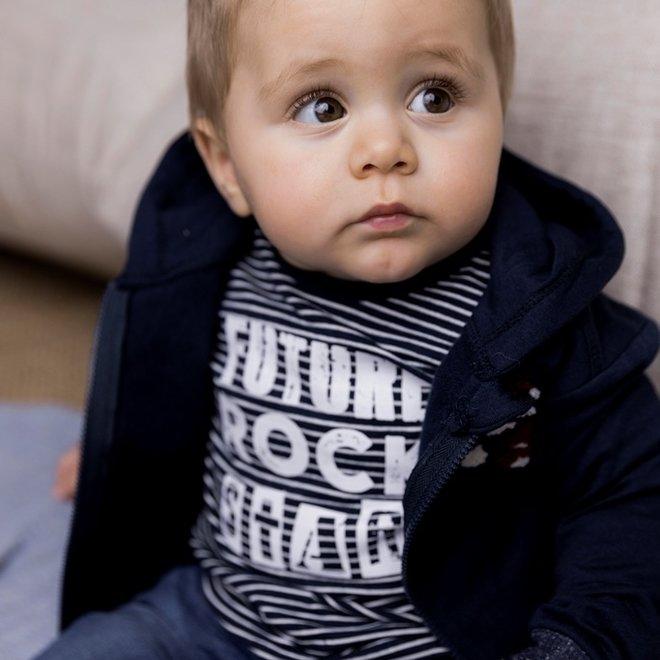 Dirkje jongens shirt donkerblauw streepjes