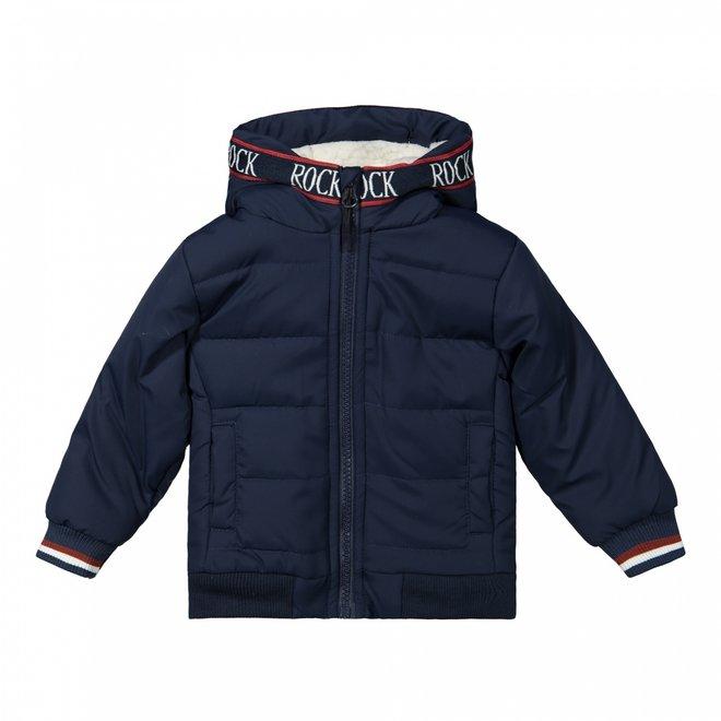 Dirkje boys winter jacket dark blue with hood