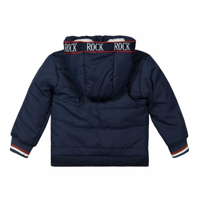 Dirkje jongens winterjas donkerblauw met capuchon