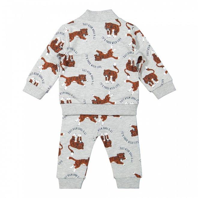 Dirkje jongens baby set vest shirt broek lichtgrijs tijger