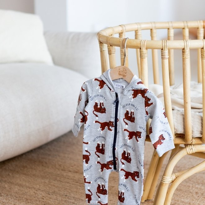 Dirkje Jungen Baby Kapuzenpulli hellgrau Tiger