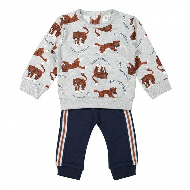 Dirkje boys baby jumper and trousers light grey tiger