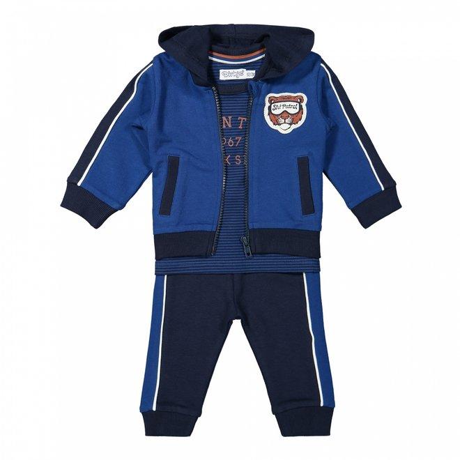 Dirkje jongens baby set vest shirt broek kobalt donkerblauw