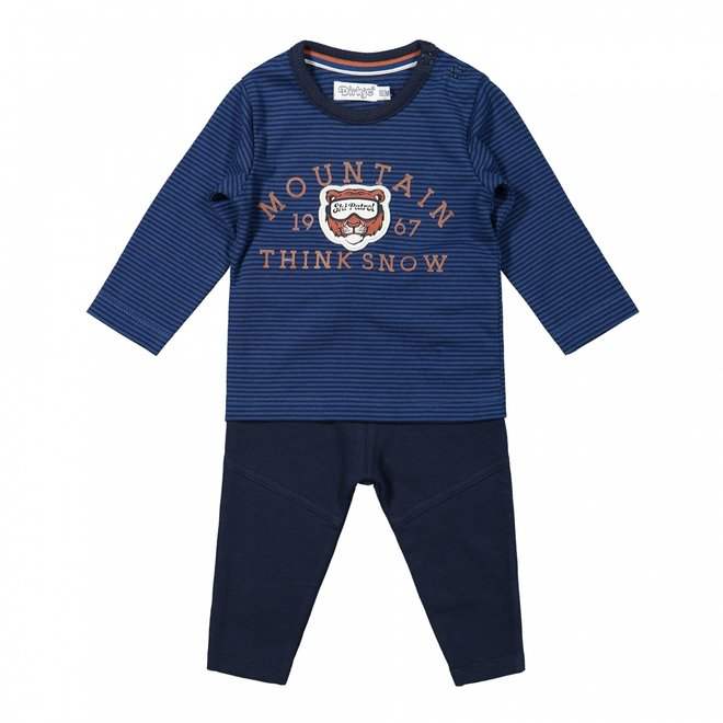 Dirkje boys baby set shirt and trousers cobalt blue
