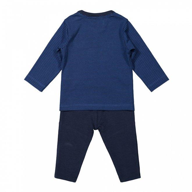 Dirkje jongens baby set shirt en broek kobalt blauw