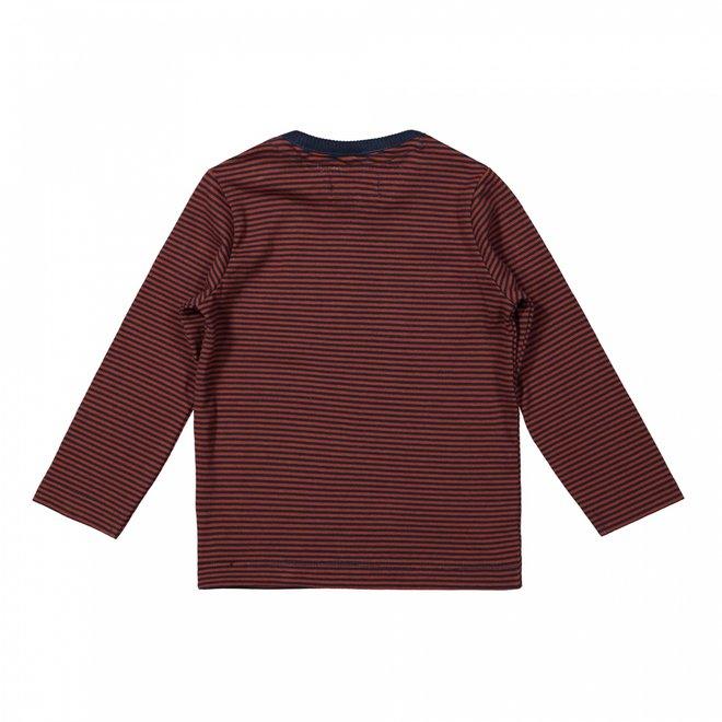 Dirkje boys shirt rust brown stripe