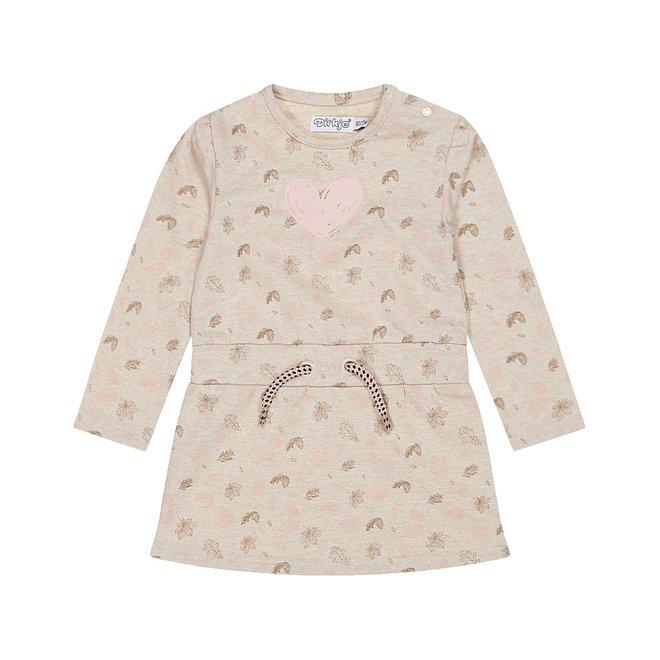Dirkje meisjes jurk beige met print