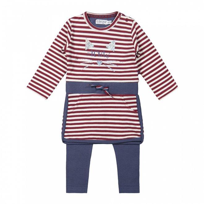 Dirkje girls babyset dress with legging bordeaux