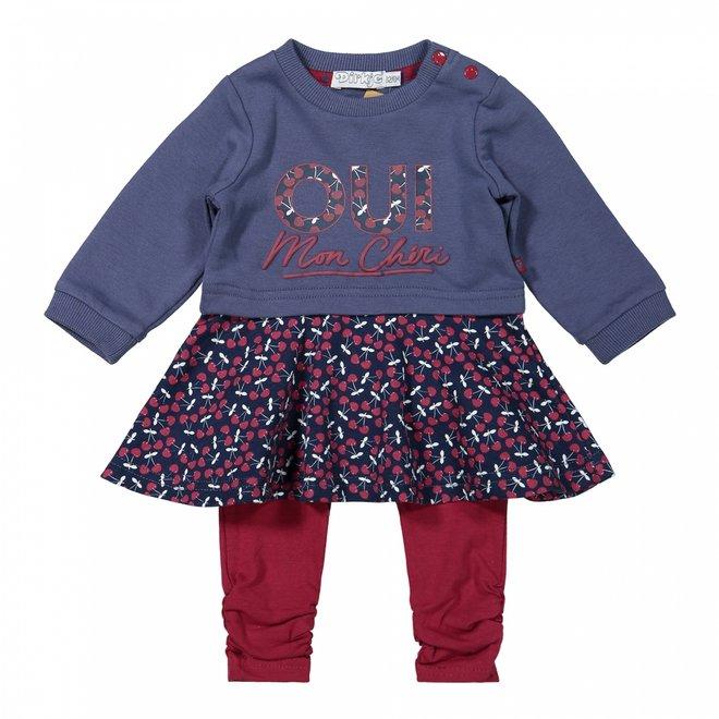 Dirkje meisjes babyset jurk met legging blauw kers
