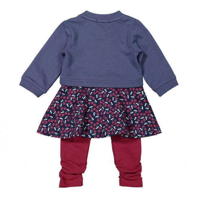 Dirkje Mädchen Babyset Kleid mit Leggings blau kirsche