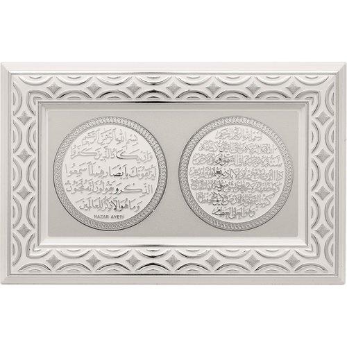 Günes Hediyelik Nazar & Ayat Al Kursi Lijst Zilver met Wit
