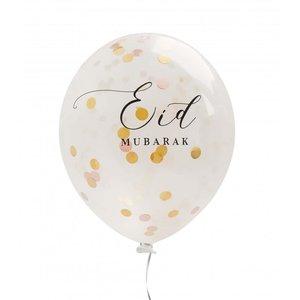 Eid Mubarak Ballonnen Oud Roze met Confetti