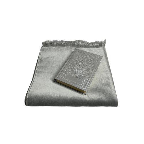 Fluwelen Gebedskleed Zilver met lederen Koran
