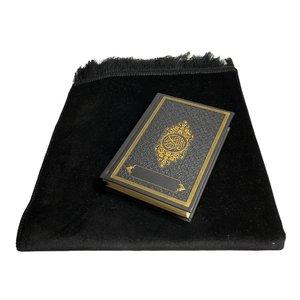 Fluwelen Gebedskleed Zwart met lederen Koran