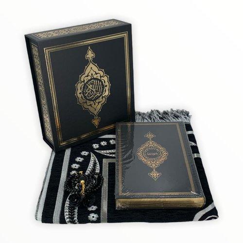Koran Set met Gebedskleed Tasbeeh en Kuran Zwart