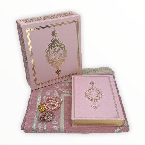 Koran Set met Gebedskleed Tasbeeh en Kuran Roze